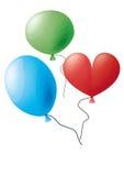 Błękita, zieleni i czerwieni balony, Fotografia Royalty Free