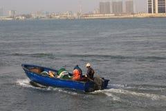 Błękitna łódź motorowa obraz stock