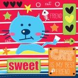 Błękitna śliczna kot ilustracja Obraz Stock