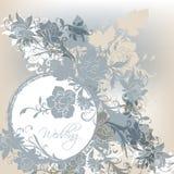 Błękitna ślubna karta Zdjęcia Royalty Free
