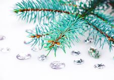 Błękitna świerczyny gałąź z kryształami dla dekoraci Obraz Stock
