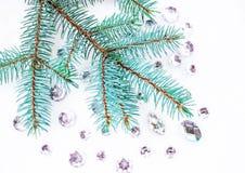 Błękitna świerczyny gałąź z kryształami dla dekoraci Zdjęcie Royalty Free