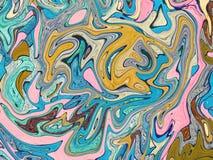 Błękitna żółta cyfrowa marmoryzacja Abstrakta marmurkowaty tło Holograficzny abstrakta wzór Obraz Royalty Free