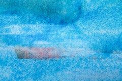 Błękitna abstrakcjonistyczna akwarela malujący tekstury tło ilustracja wektor
