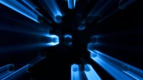Błękitna Abstrakcjonistyczna sześciokąt animacja z Neonowego skutka i lekkich promieni tłem ilustracji