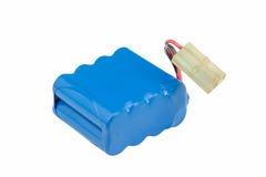 Błękitna baterii paczka odizolowywająca na bielu Fotografia Stock