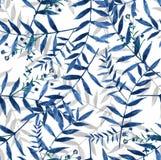 Błękitna bezszwowa ręka malujący liść akwareli tło Zdjęcia Royalty Free