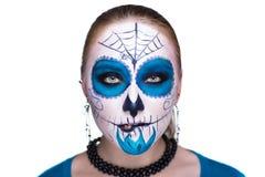 Błękitna Biała czaszki maska Zdjęcie Royalty Free