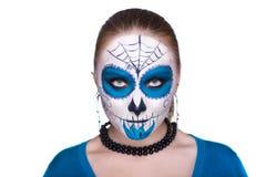Błękitna Biała czaszki maska Obrazy Stock