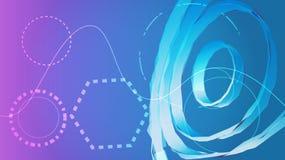Błękitna cyfrowa naukowa nowożytna abstrakcjonistyczna wolumetryczna kółkowa tekstura lampasy i linie od przyszłości verdure pozy ilustracja wektor