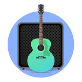 Błękitna electro gitara akustyczna z amp Obrazy Royalty Free