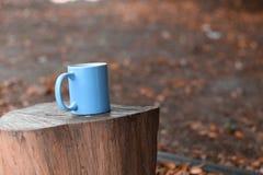 Błękitna filiżanka dla kawy, umieszczająca na beli obrazy stock