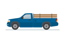Błękitna furgonetka odizolowywająca na białym tle Zdjęcia Royalty Free