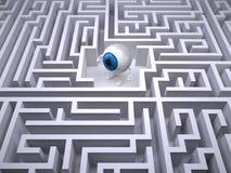 Błękitna gałka oczna wśrodku labityntu labiryntu ilustracja wektor