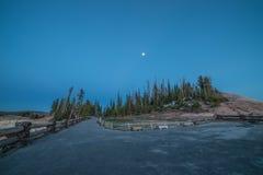 Błękitna godzina, Lasowi drzewa i Moonrise na punktu widoku Najwyższym punkcie, cedr Łamamy Krajowego zabytek, Utah Zdjęcia Royalty Free
