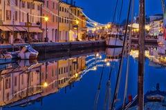 Błękitna godzina przy Cesenatico zdjęcie stock