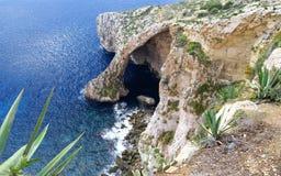 Błękitna grota w wyspie Malta Obraz Stock