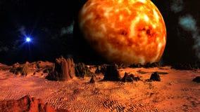Błękitna gwiazda przeciw fantastycznemu krajobrazowi i (UFO) ilustracji