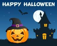 Błękitna Halloweenowa bania Nawiedzający dom ilustracji