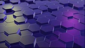 Błękitna honeycomb siatka z ciemnawym światłem heksagonalne kolumny rusza się w górę i na dół przypadkowo zbiory wideo