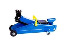 Błękitna hydrauliczna podłogowa dźwigarka odizolowywająca Zdjęcie Stock