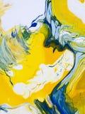 Błękitna i żółta abstrakcjonistyczna ręka malował tło, akrylowy painti Fotografia Stock