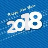 Błękitna i biała diagonalna nowego roku życzenia karta Zdjęcie Stock