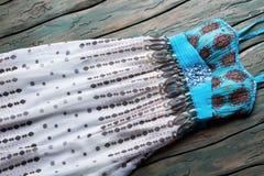 Błękitna i biała lato suknia Zdjęcia Stock
