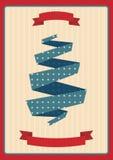Błękitna i czerwona Bożenarodzeniowa retro etykietka Obraz Stock