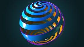 Błękitna i pomarańczowa abstrakt spirali kula ziemska, 3D rendering Fotografia Stock