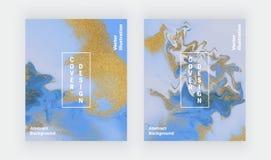 Błękitna i złota błyskotliwość ciecza marmuru tekstura Ustawia atramentu obrazu abstrakta wz?r Modni t?a dla tapety, ulotka, plak ilustracja wektor