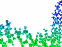 błękitna i zielona glansowana chemiczna cząsteczkowa struktura Zdjęcie Royalty Free
