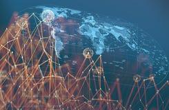 Błękitna internet kula ziemska, networking i pojęcie wold mapa i royalty ilustracja