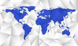 Błękitna jednakowa światowa mapa Mapy pojęcie w poligonalnym stylu Światowej mapy puste miejsce Fotografia Royalty Free