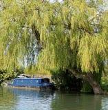 Błękitna Kanałowa łódź Pod A Płacze Wierzbowym drzewem Zdjęcia Royalty Free