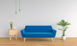 Błękitna kanapa dla mockup w żywym pokoju, 3D rendering Ilustracja Wektor