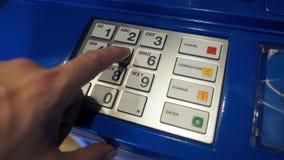 Błękitna koloru ATM maszyna i biel zapinamy klawiaturę Obraz Stock