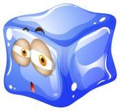 Błękitna kostka lodu z twarzą ilustracja wektor