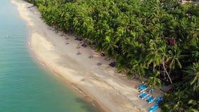 Błękitna laguna i piaskowata plaża z palmami Widok z lotu ptaka błękitni laguny i słońca łóżka na piaskowatej plaży z kokosowymi  zdjęcie wideo