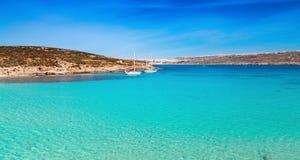 Błękitna laguna na Comino wyspie, Malta Gozo Zdjęcie Stock