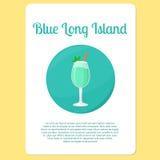Błękitna Long Island koktajlu ikona ilustracji