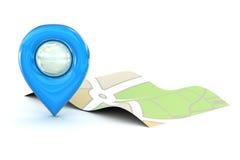 Błękitna mapa pointeru ikona Zdjęcia Royalty Free