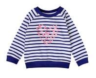 Błękitna marynarka wojenna paskował berbeć dziewczyny ` s bluzę sportowa odizolowywającą Fotografia Royalty Free