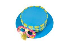 Błękitna maska dla karnawału i kapelusz Zdjęcia Stock