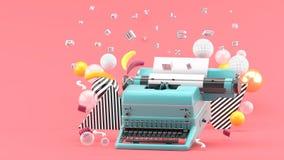 Błękitna maszyna do pisania otaczająca listami i kolorowymi piłkami na różowym tle royalty ilustracja