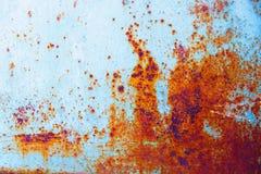 Błękitna metal ściana z rdzą Zdjęcie Stock
