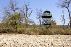 Błękitna metal wieża obserwacyjna Fotografia Royalty Free