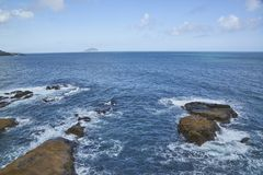 Błękitna morza, wody powierzchnia z lub Zdjęcie Royalty Free
