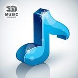 Błękitna muzykalnej notatki ikona, 3d projekta muzyczny element Obrazy Stock
