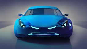 Błękitna nowożytna prędkość samochodu przodu nauka Zdjęcia Royalty Free